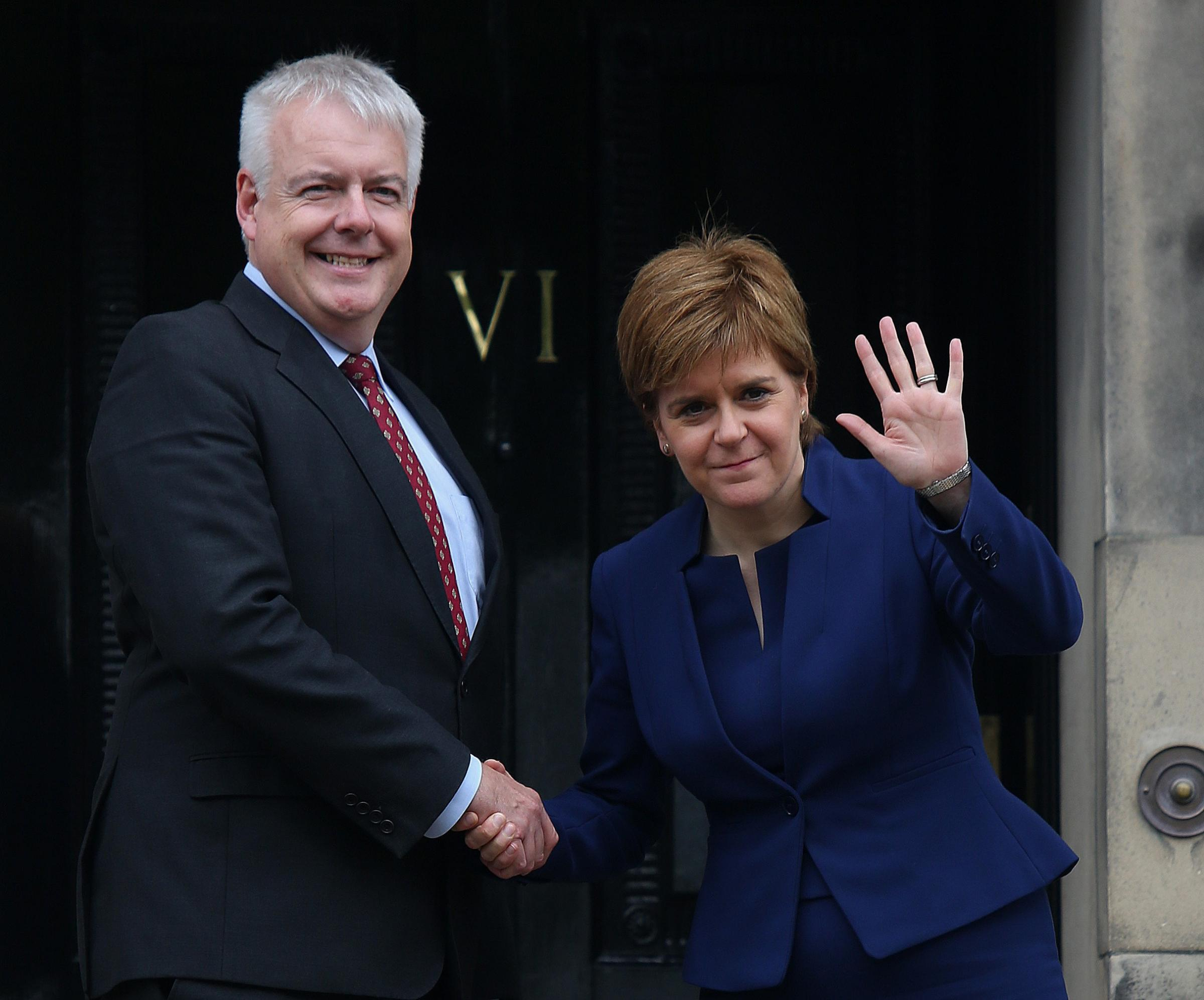 First Minister of Wales Carwyn Jones and Scottish First Minister Nicola Sturgeon at Bute House
