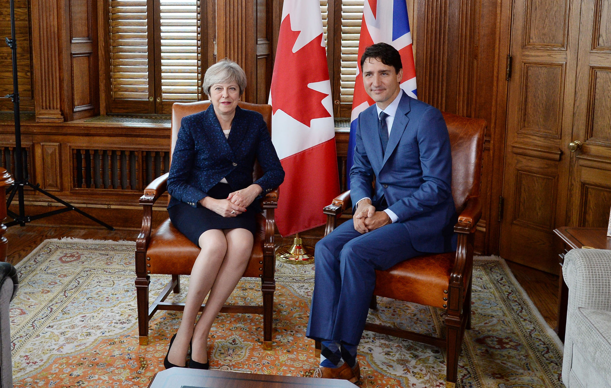Theresa May and Justin Trudeau met in Ottawa on Monday
