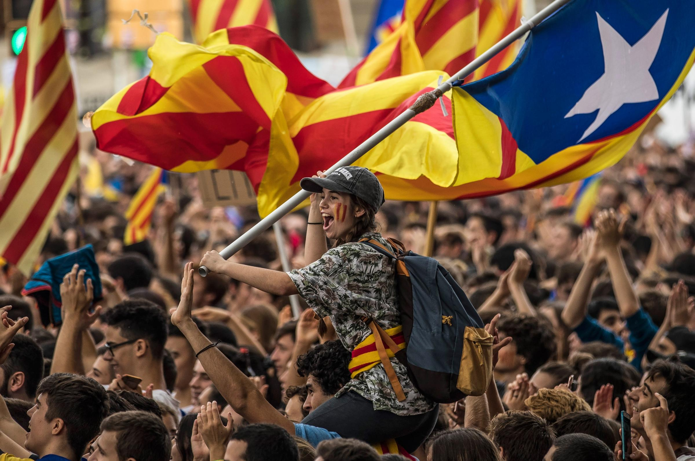 Students demonstrate against the Spanish Government's attempts to stop Catalonia's referendum. Photograph: Dan Kitwood/Getty Images