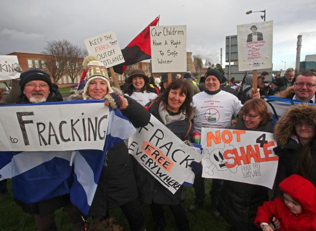 Fracking protestors at the INEOS plant in Grangemouth Photograph: Gordon Terris