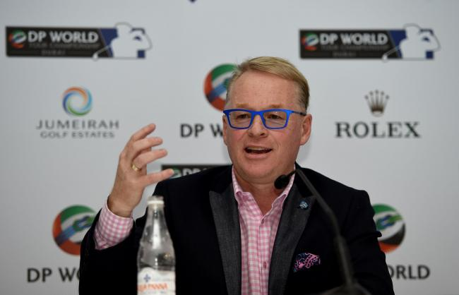DUBAI, UNITED ARAB EMIRATES - NOVEMBER 17:  Keith Pelley, Chief Executive of The European Tour, addresses the assembled media during a press conference prior to the start of the DP World Tour Championship on the Earth Course at Jumeirah Golf Estates on No