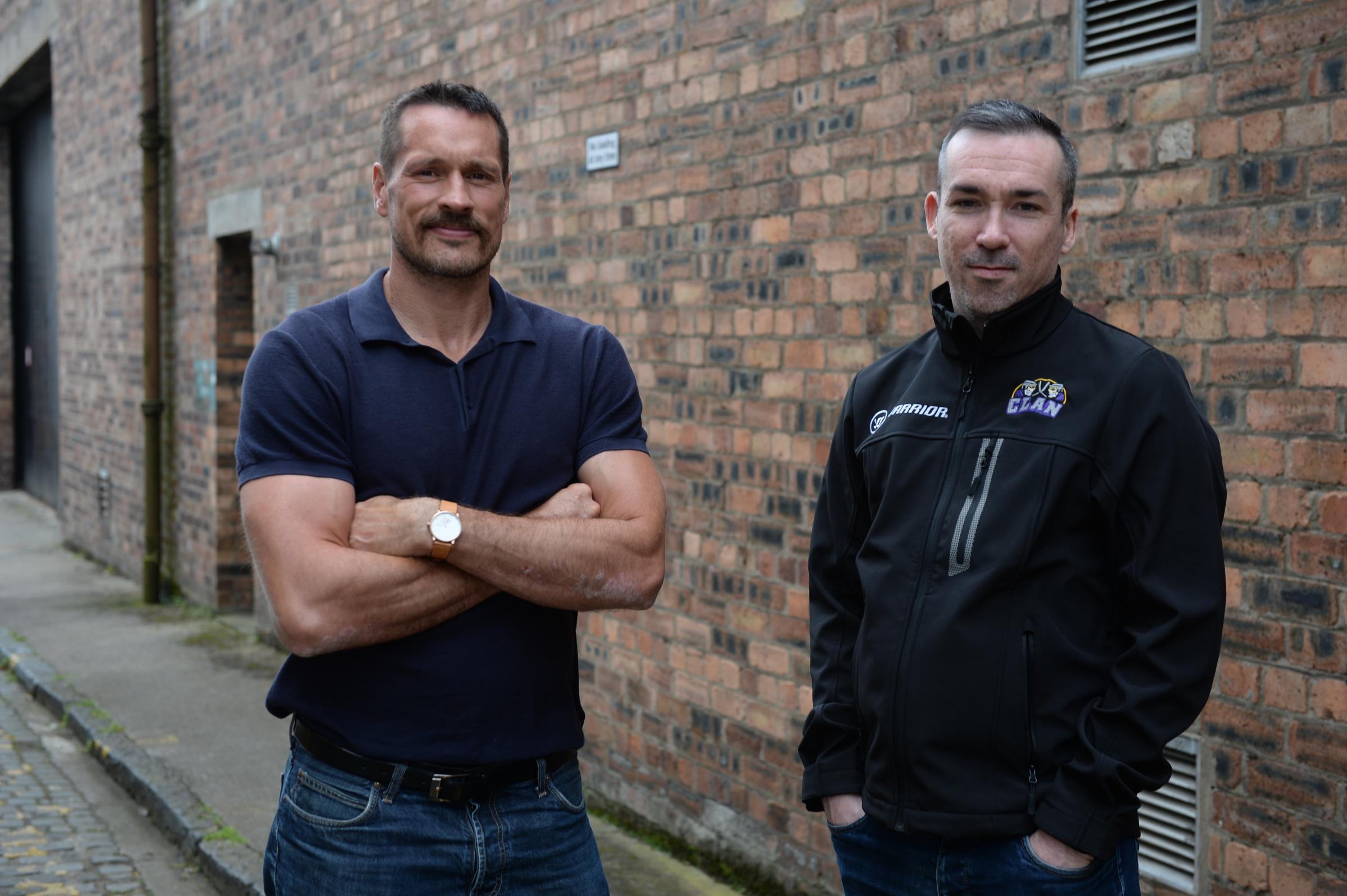Braehead Clan ..John Tripp (left) new Braehead Clan head coach, and Gareth Chalmers, hockey and operations director... 11/8/17. (Photo by Kirsty Anderson/Herald & Times) - KA..