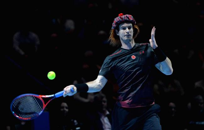 Andy Murray in playful mood during his match against Roger Federer during Andy Murray Live at The Hydro
