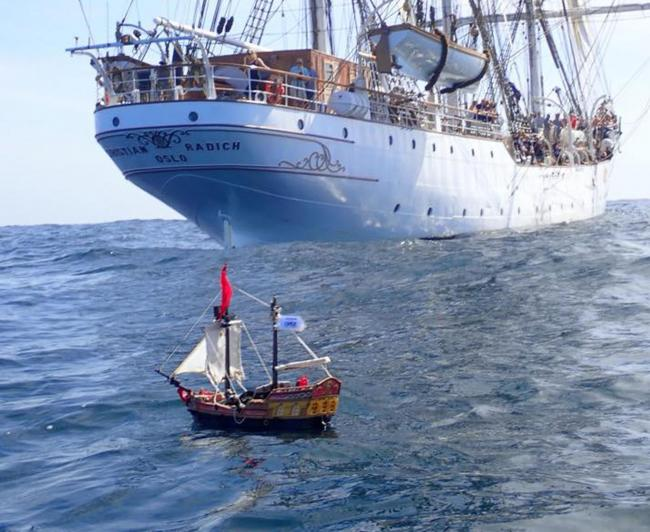 Toy pirate ship launched from Scotland continues its journey across