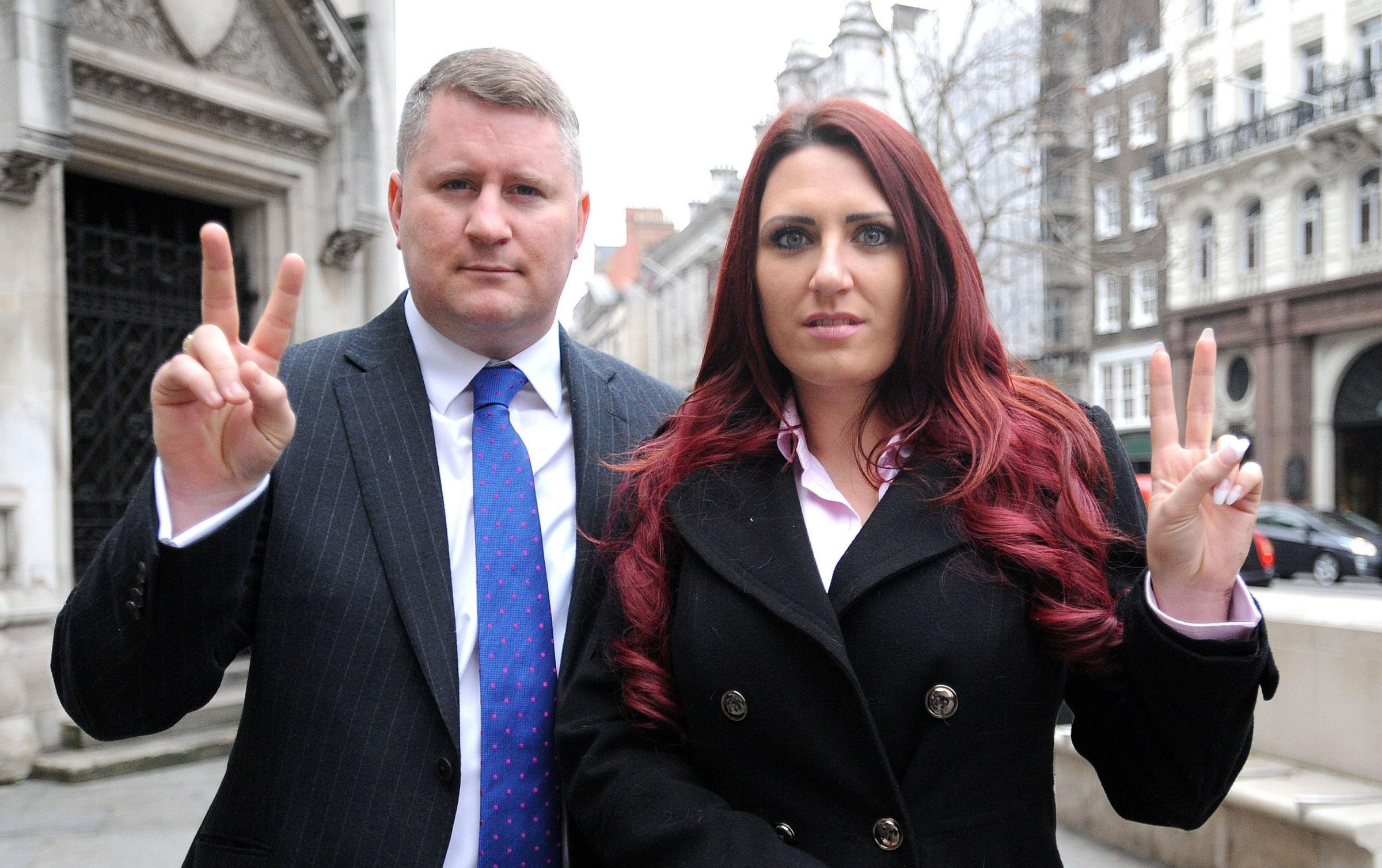 Britain First deputy leader Jayda Fransen with leader Paul Golding