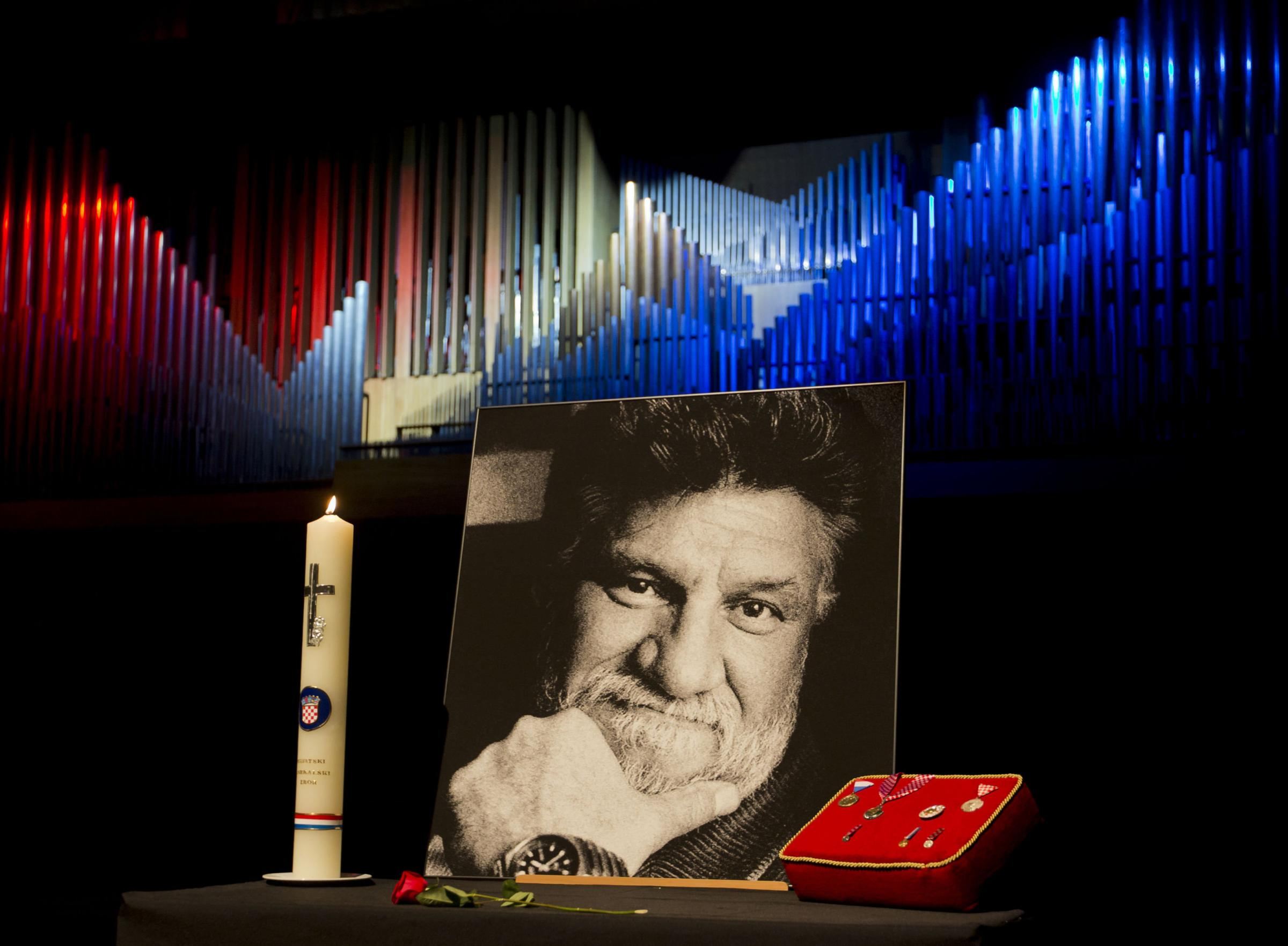 The portrait of late Croatian general Slobodan Praljak who died after taking poison at a United Nations tribunal is displayed at a commemoration ceremony in Zagreb