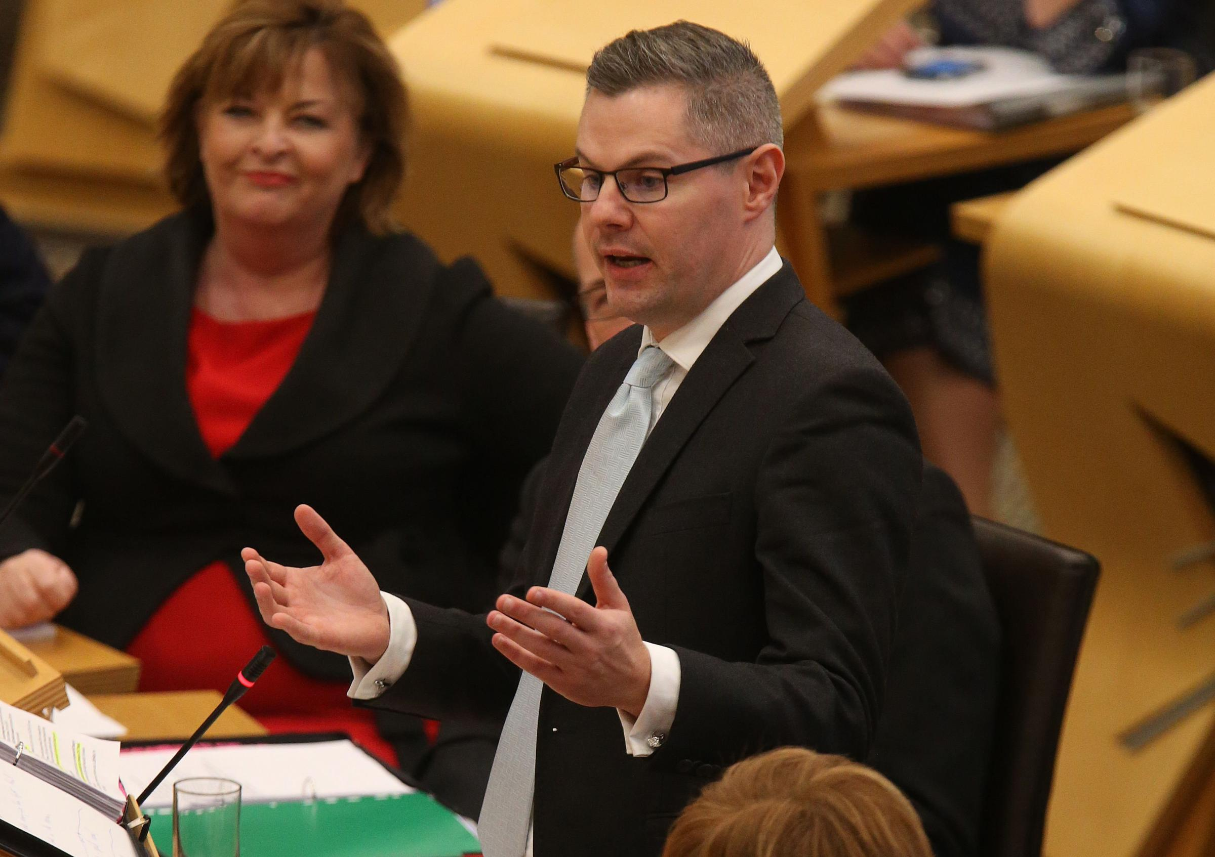 Derek Mackay was questioned by the Holyrood finance committee. Photograph: Gordon Terris