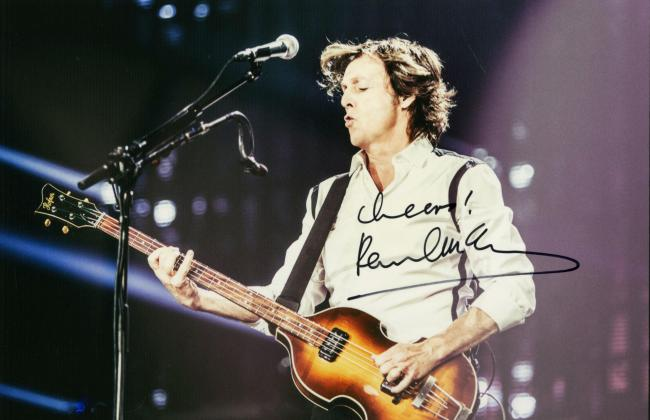 The autographed photograph of Sir Paul McCartney which the former Beatle has donated to raise funds for Kintyre Seasports