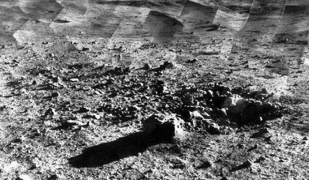 A photomosaic of lunar panorama near the Tycho crater taken by Surveyor 7