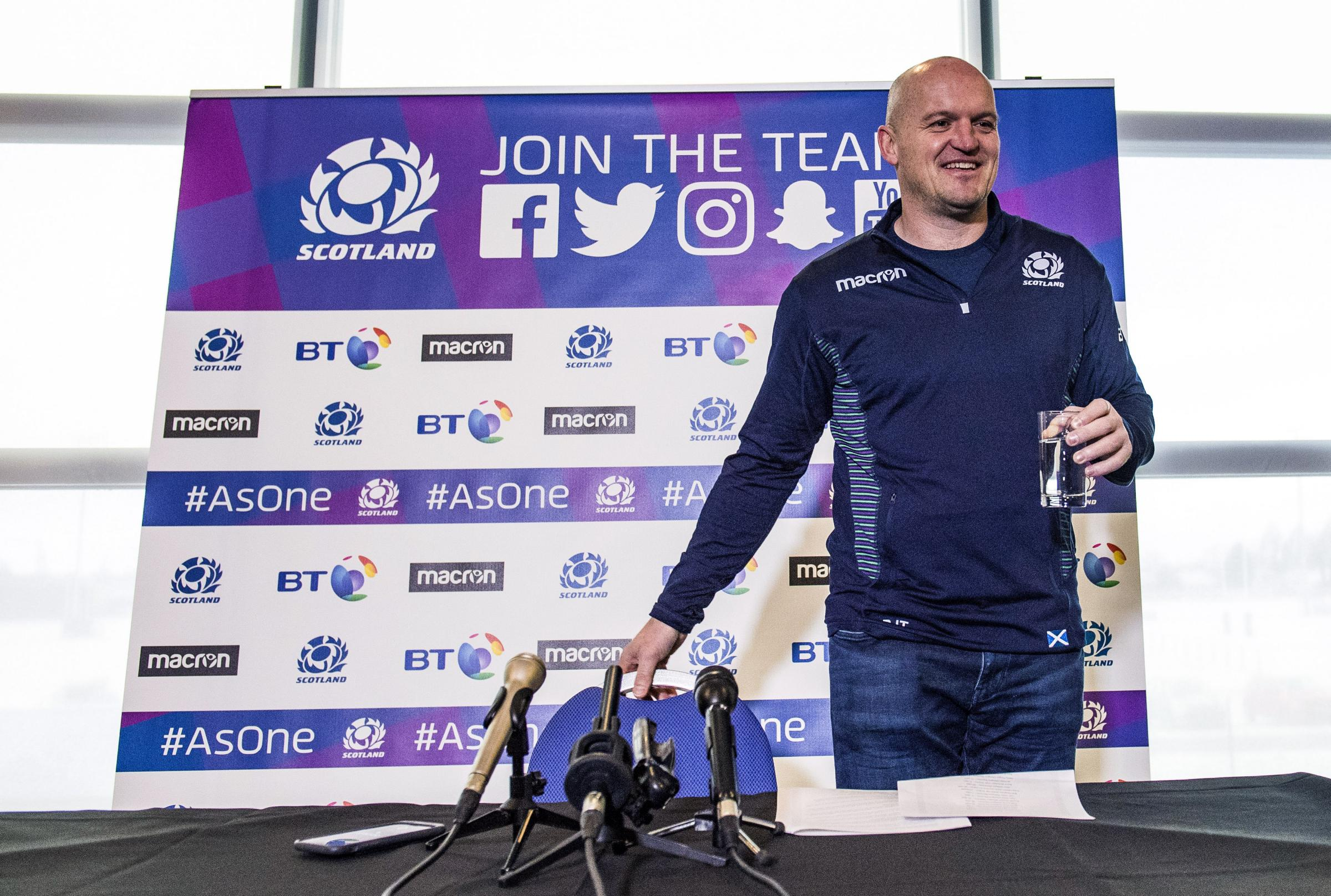 Scotland head coach Gregor Townsend speaks to the press as he announces his squad for the Six Nations