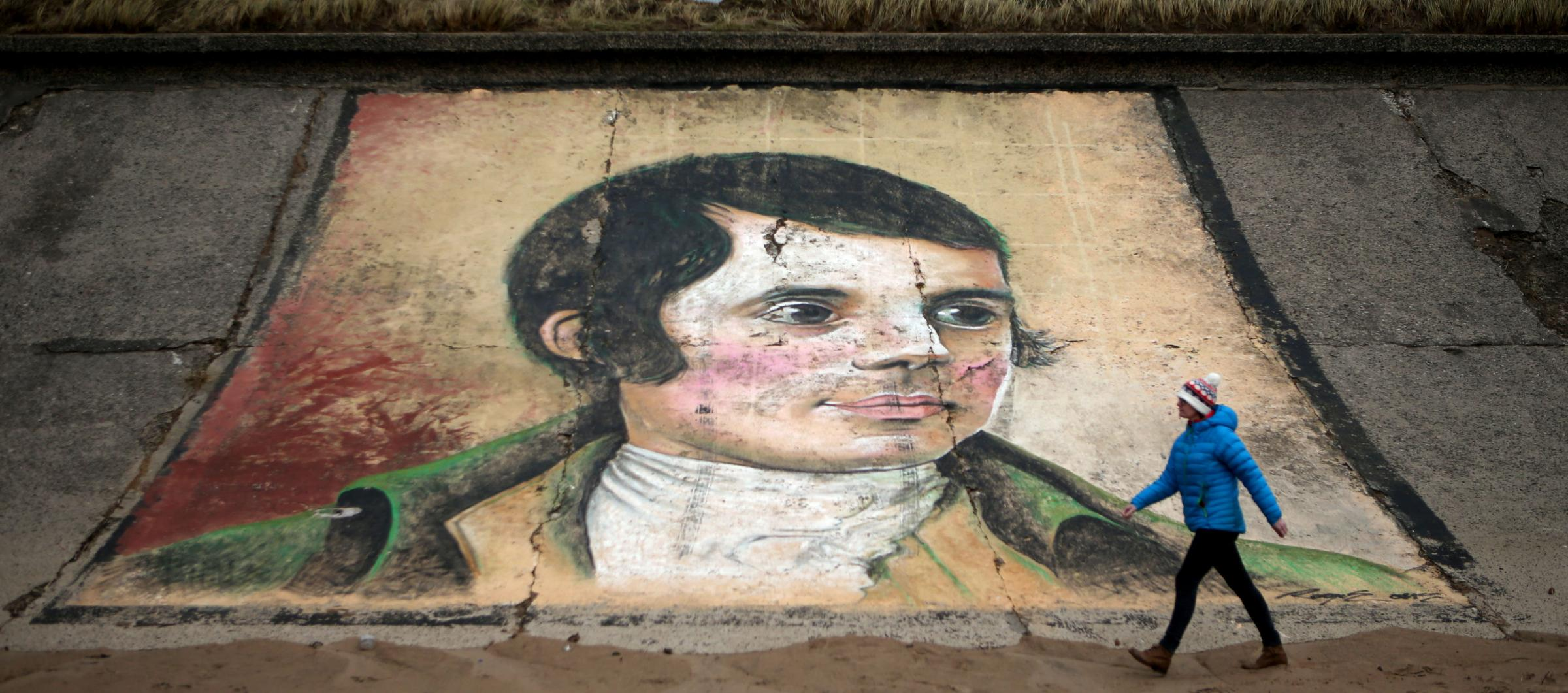 A mural of Robert Burns on the sea wall at Ardeer beach, near to his birthplace of Alloway in Ayrshire. Photograph: PA