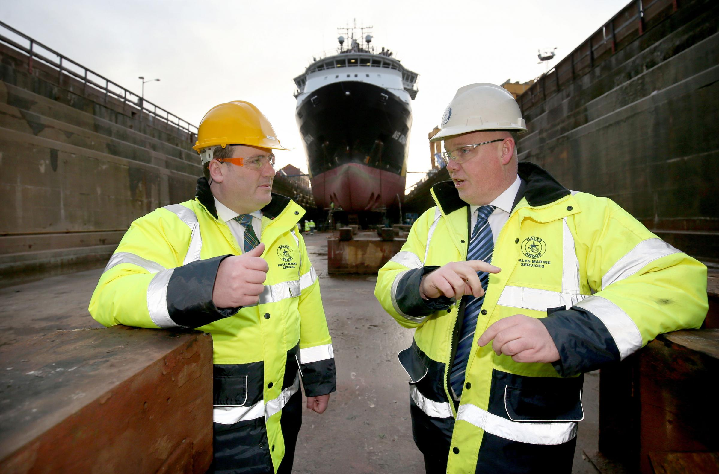 Energy Minister Paul Wheelhouse, left, with Michael Milne, managing director of Dales Marine