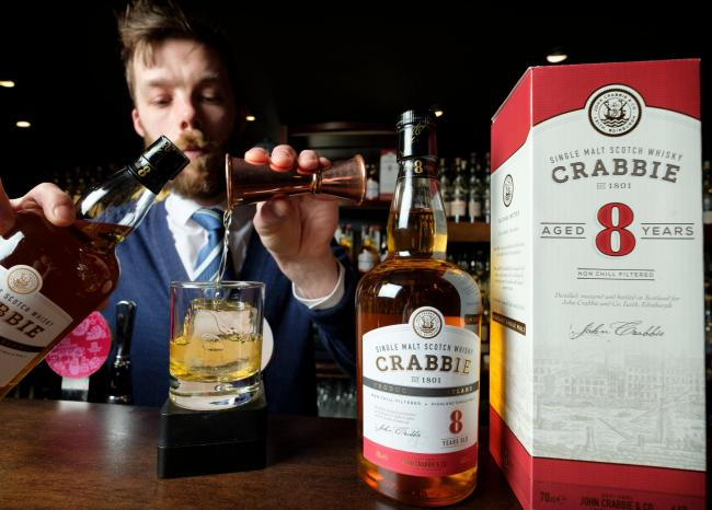 The limited Crabbie eight-year-old single malt whisky, with a single cask release of 336 bottles, is available from February 1