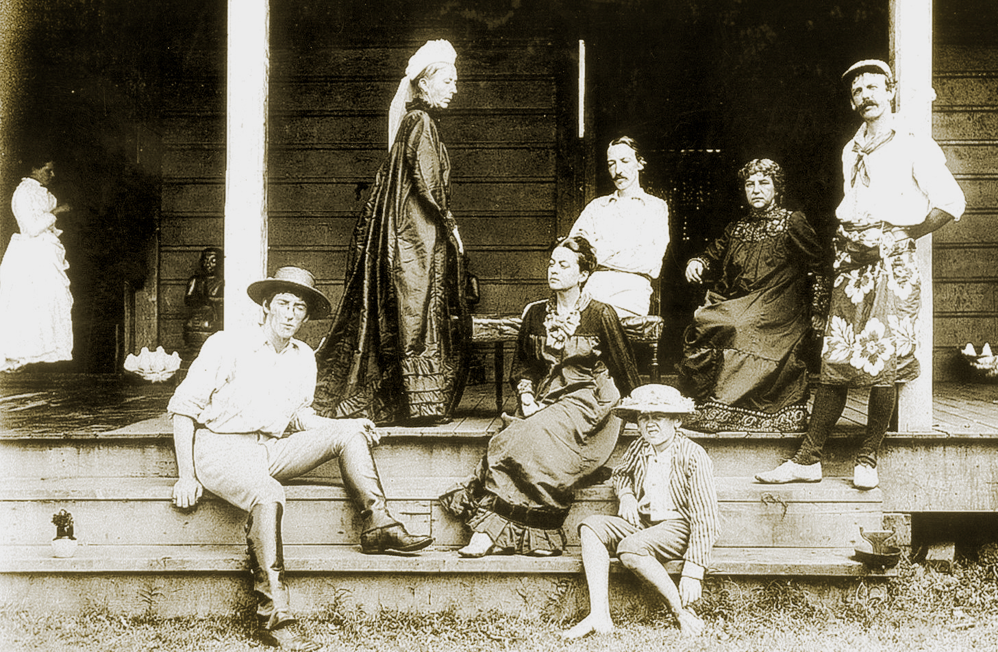 Robert Louis Stevenson  with his wife, Fanny,  and his mother and friends on the verandah of his house in Samoa