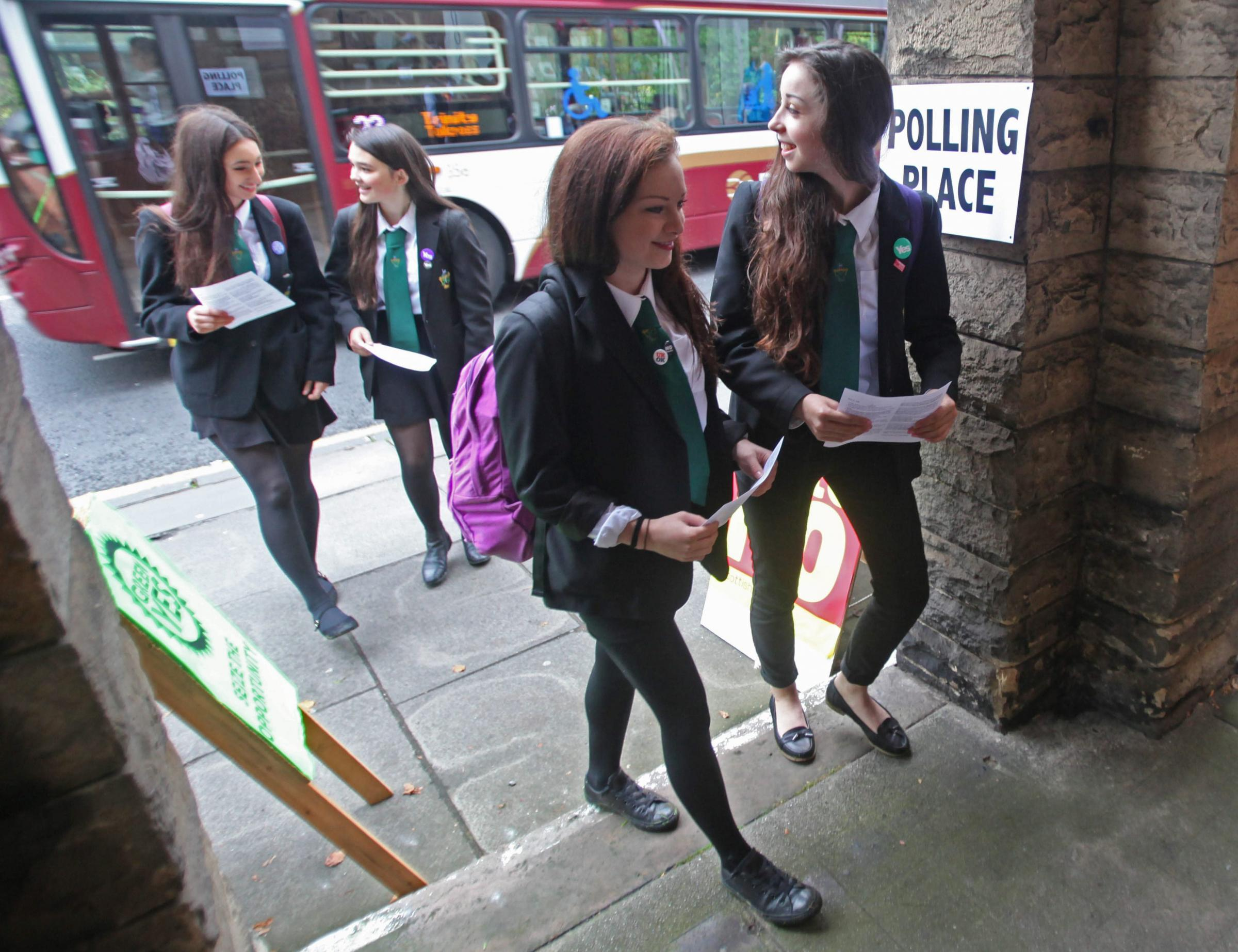 Pupils from Boroughmuir High School in Edinburgh were among the 16 and 17-year olds in Scotland who voted for the first time in the 2014 referendum on independence for Scotland Photograph: Gordon Terris