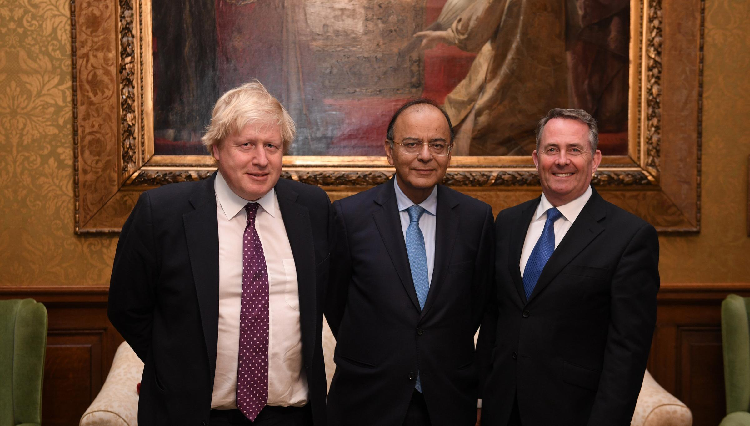 The projection was submitted by the finance minister Arun Jaitley, centre, pictured with Boris Johnson and Liam Fox. Photograph: Getty