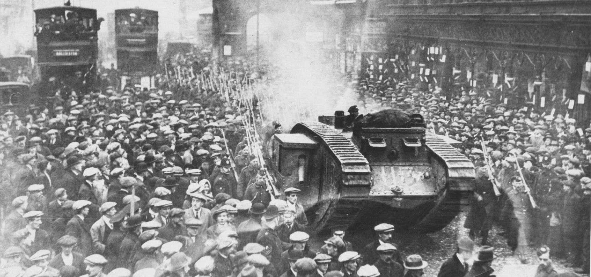 Research, confirmed by The Herald, suggests the photograph, which depicts a tank surrounded by soldiers and of Glaswegians on the Trongate, was actually taken in mid-January 1918