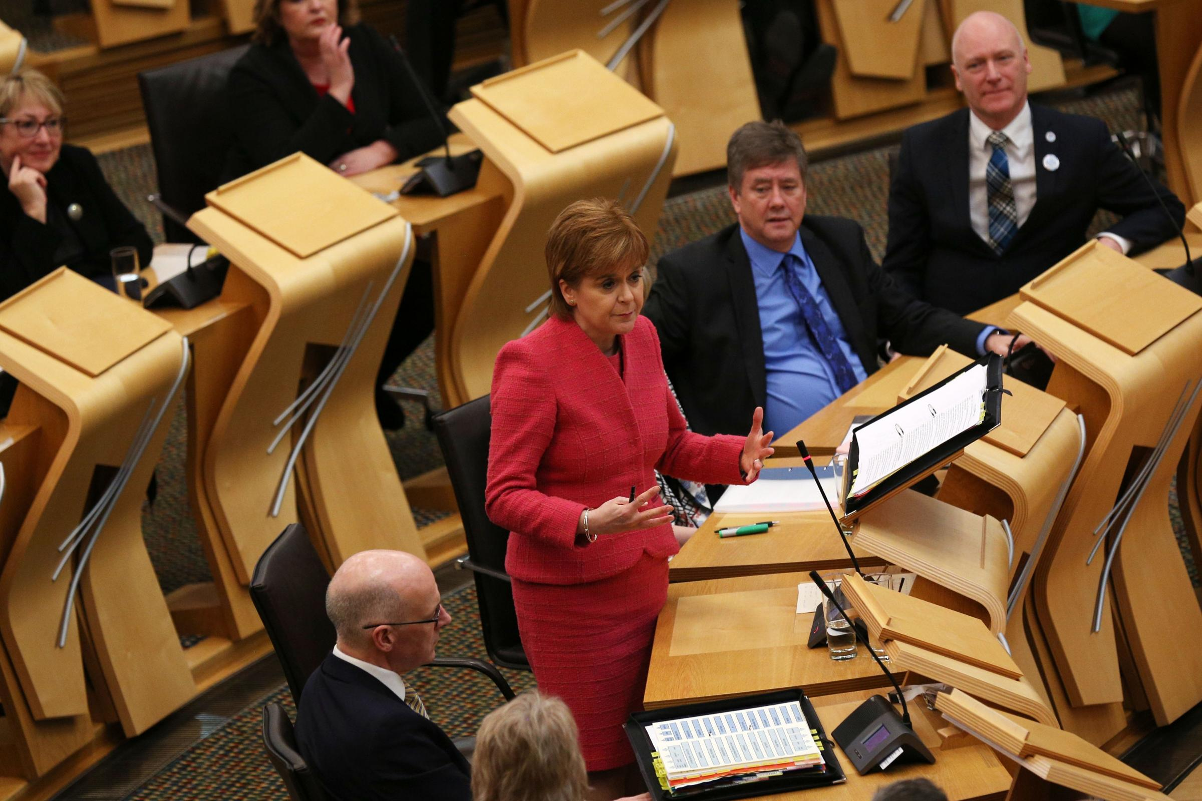 First Minister Nicola Sturgeon in the debating chamber during FMQs