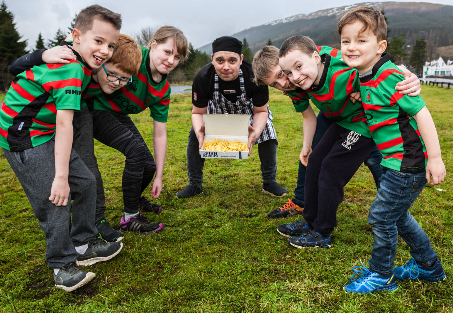 From left: Oban Lorne mini-rugby team Ruan Kemp, Sean Thomson, Tayler Robinson, Alex Dima, Malcolm MacIntyre, Joel Robinson and Timothy Kemp