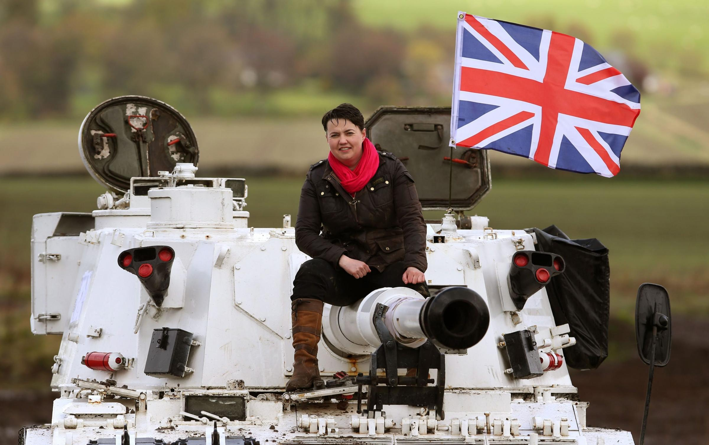 Ruth Davidson has really shown the Nats, with her cheery photo ops and propensity for sitting on tanks. Photograph: PA