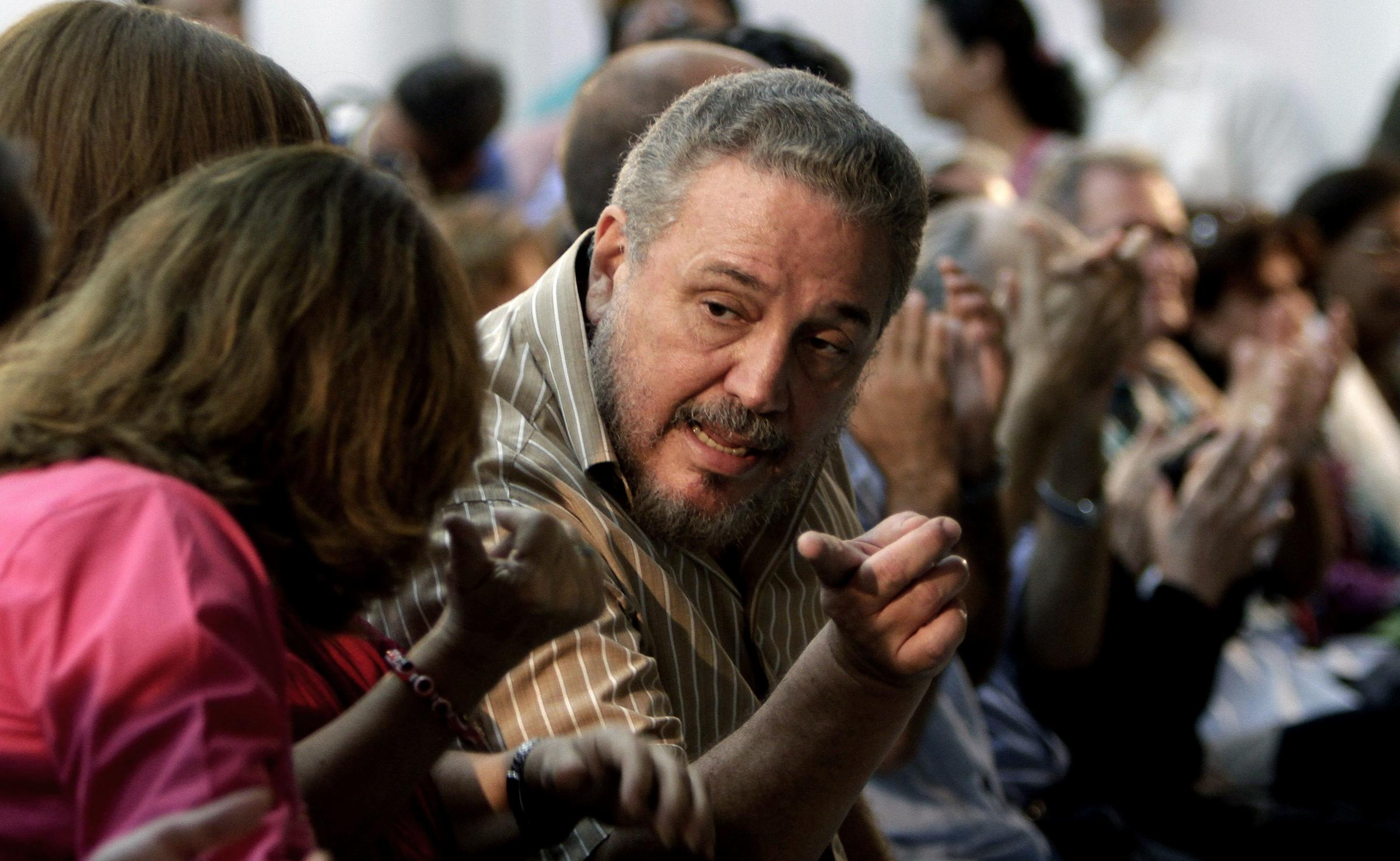 Fidel Castro Diaz-Balart, son of then Cuban leader Fidel Castro, speaks during the presentation of his father's book
