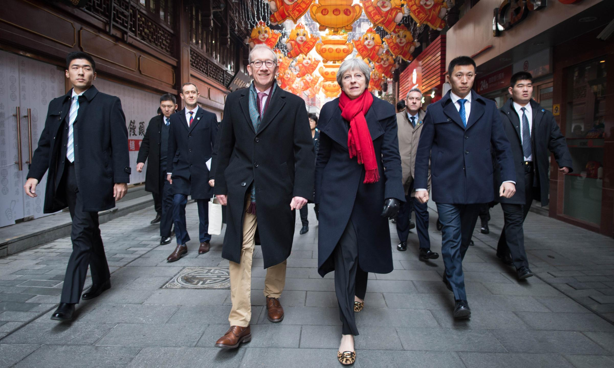 Theresa May and her husband Philip during their visit to the Yu Yuan Temple Garden in Shanghai