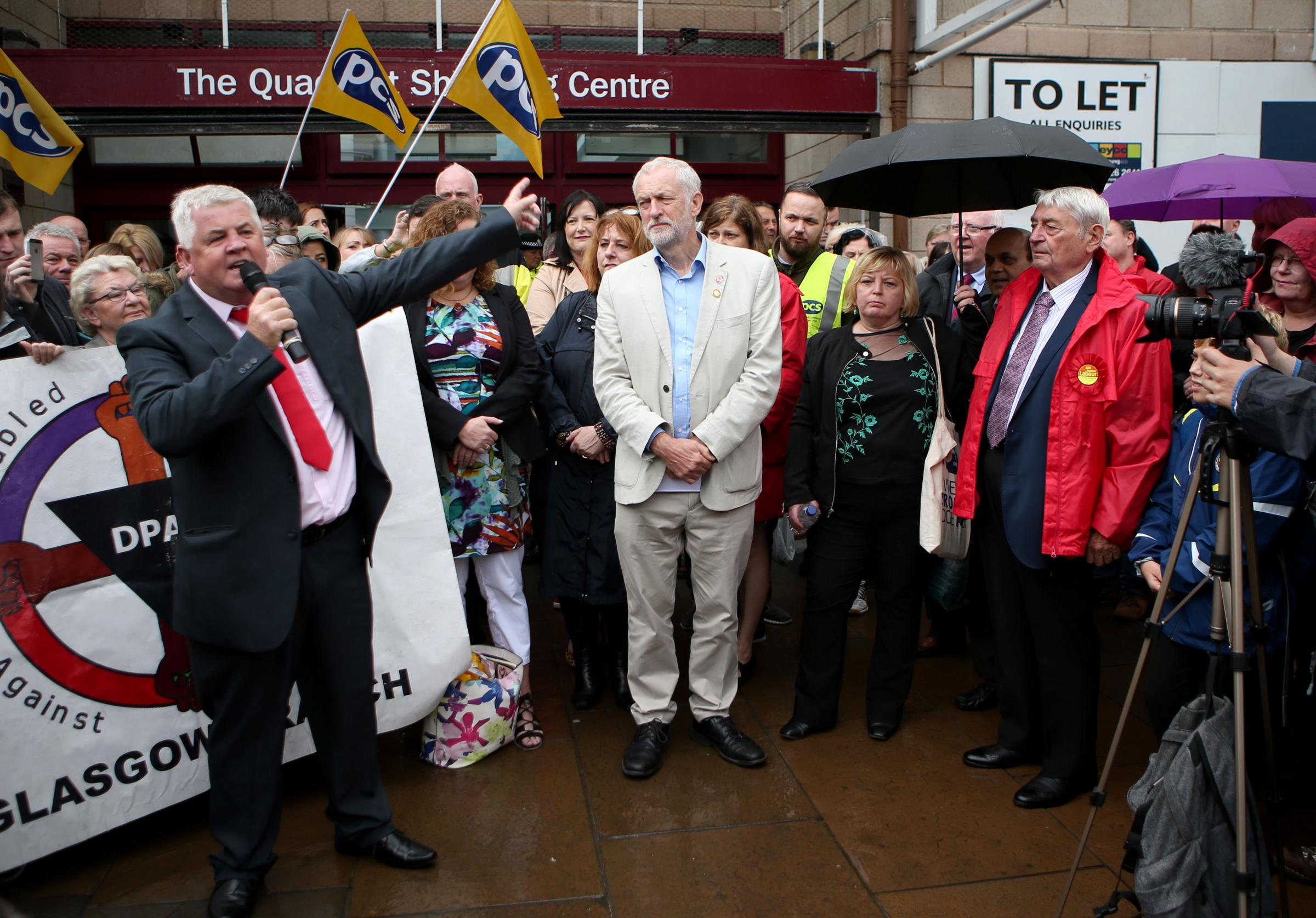 Hugh Gaffney MP, left, with Labour leader Jeremy Corbyn at a rally in Coatbridge.