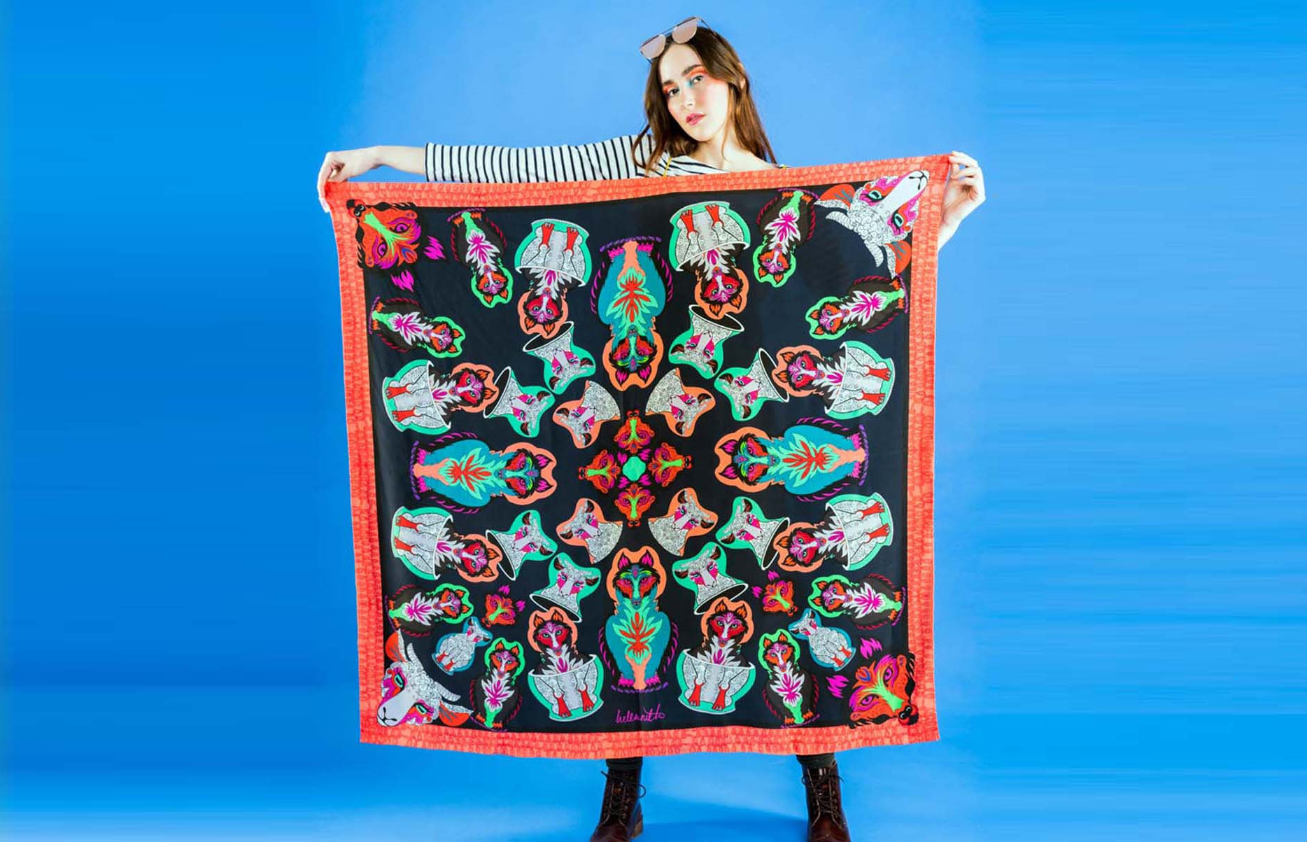 Accessories label Helen Ruth's digitally printed silk and wool scarves are hand-finished in Scotland