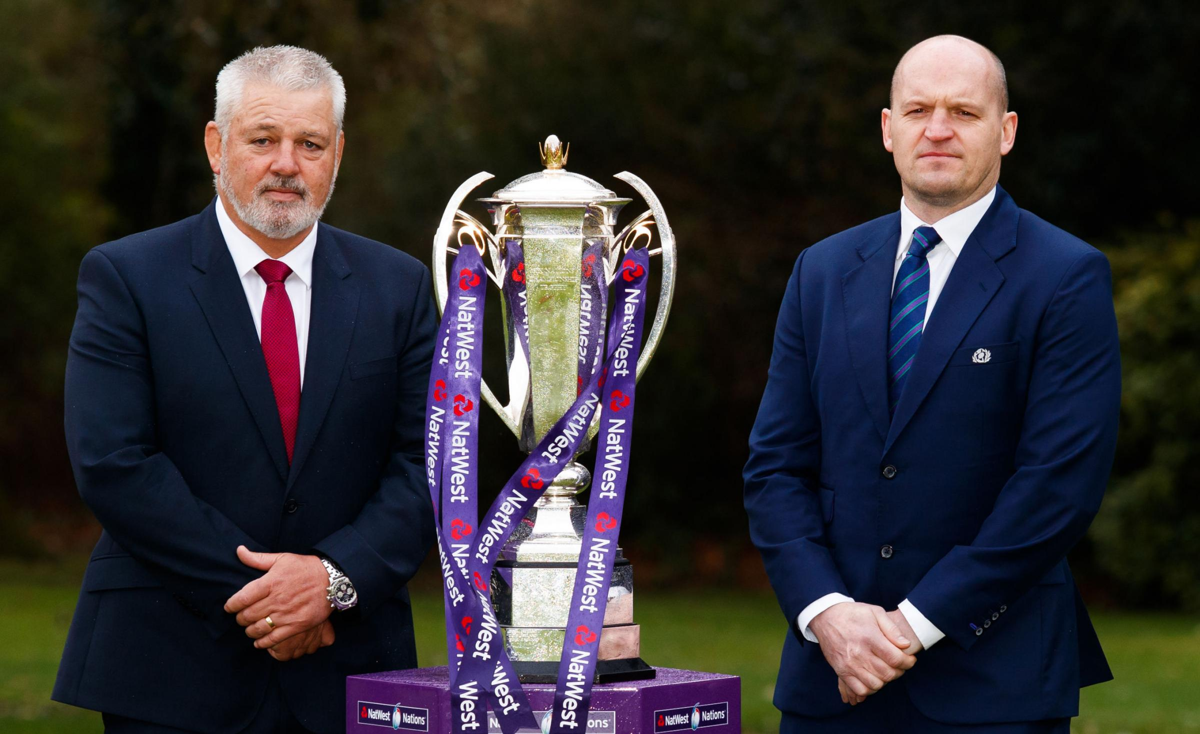 Wales coach Warren Gatland and Scotland coach Gregor Townsend at the Six Nations launch