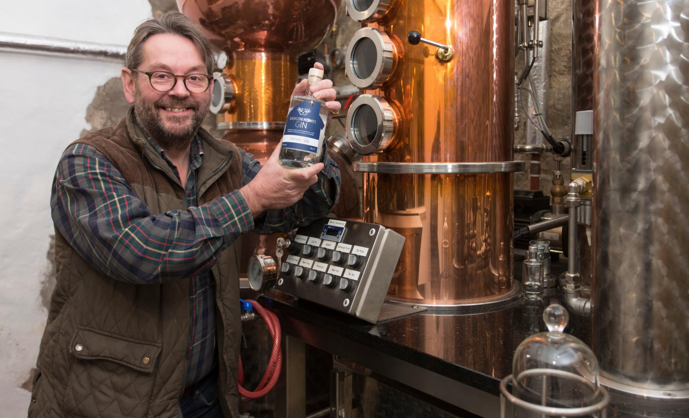 Simon Fairclough, director of Glenshee Craft Distillers in Perthshire with the new Bancon Homes gin