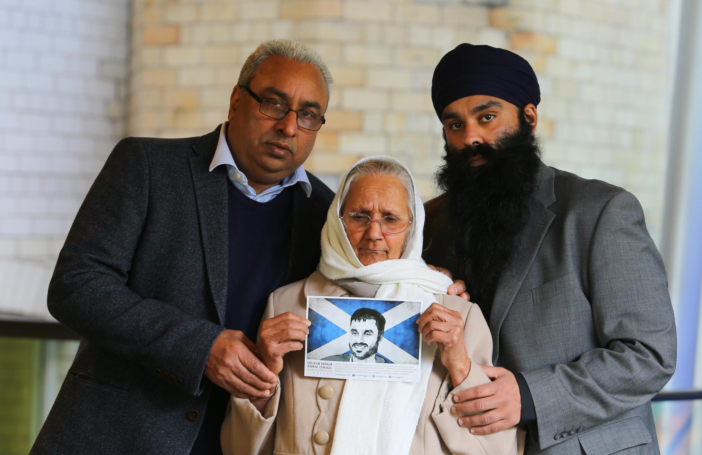 From left: Jagtar's father Jasbir Singh Johal, his grandmother Palbinder Kaur and his brother, Gurpreet Singh Johal. Photograph: Colin Mearns
