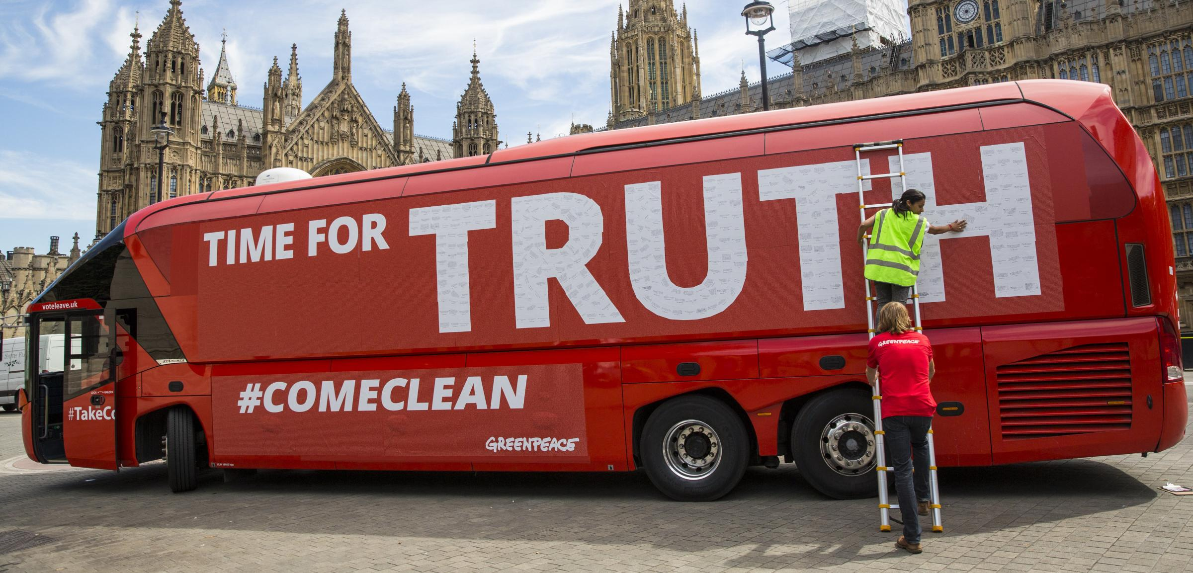 The famous Leave campaign bus was taken over by Greenpeace