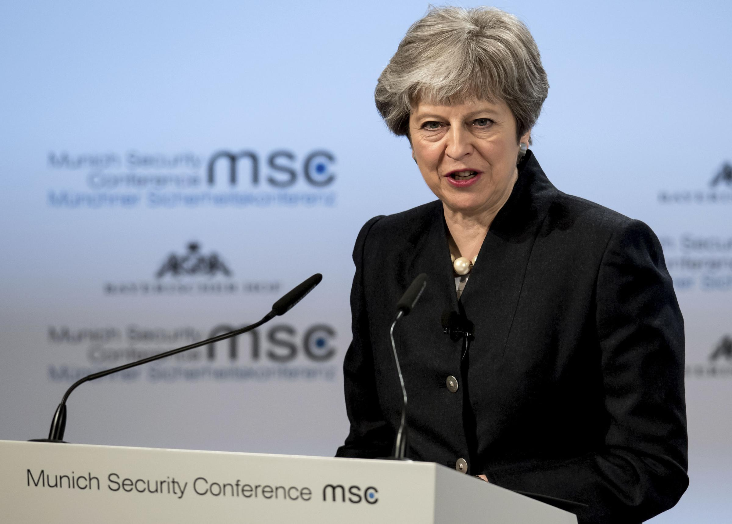 In a speech at the Munich Security Conference, Theresa May warned the rest of the EU over 'damaging real-world consequences