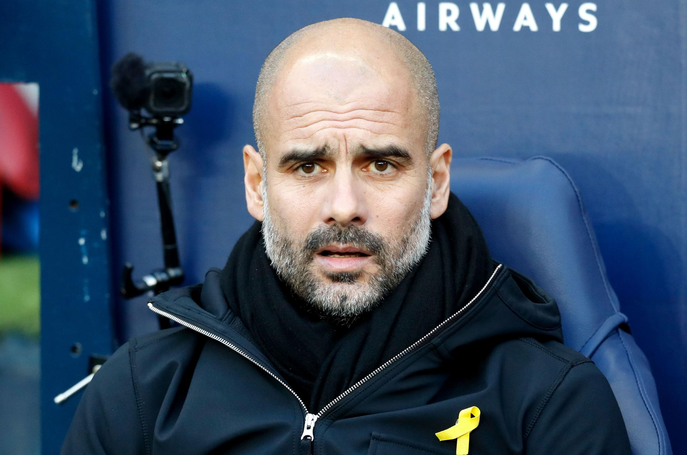 Pep Guardiola accepted the FA charge of wearing a political symbol. Photograph: PA
