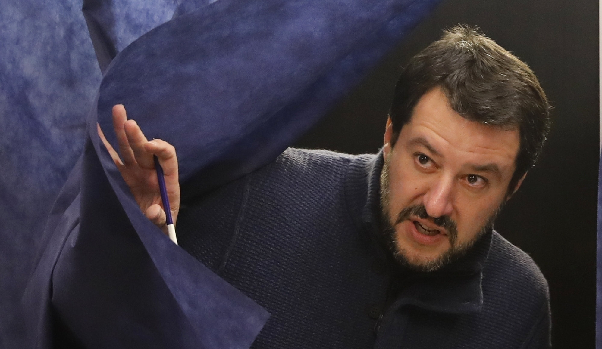 Leader of the League party, Matteo Salvini, gets out of a voting booth at a polling station in Milan. Photograph: AP