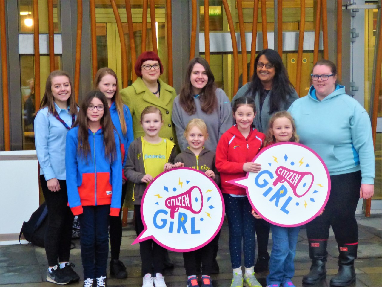 Emma Ritch and Talat Yaqoob, of Women 50:50, joined Girlguiding Scotland members to launch Citizen Girl