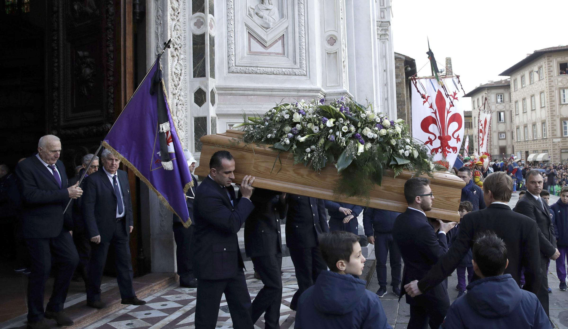 The coffin leaves the church at the end of the funeral ceremony of Italian player Davide Astori. Photograph: AP