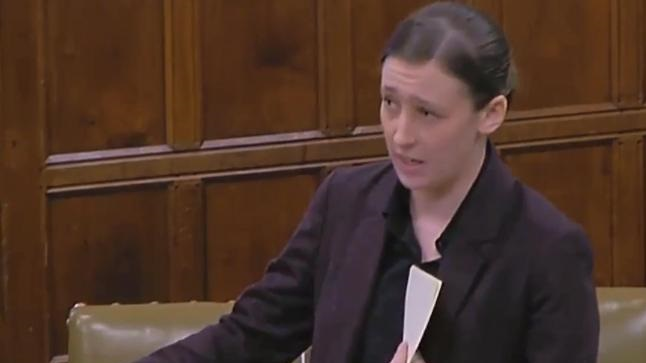 Video Grab for  Parliament TV of Mhairi Black's speech about the abuse she faces on a daily basis..