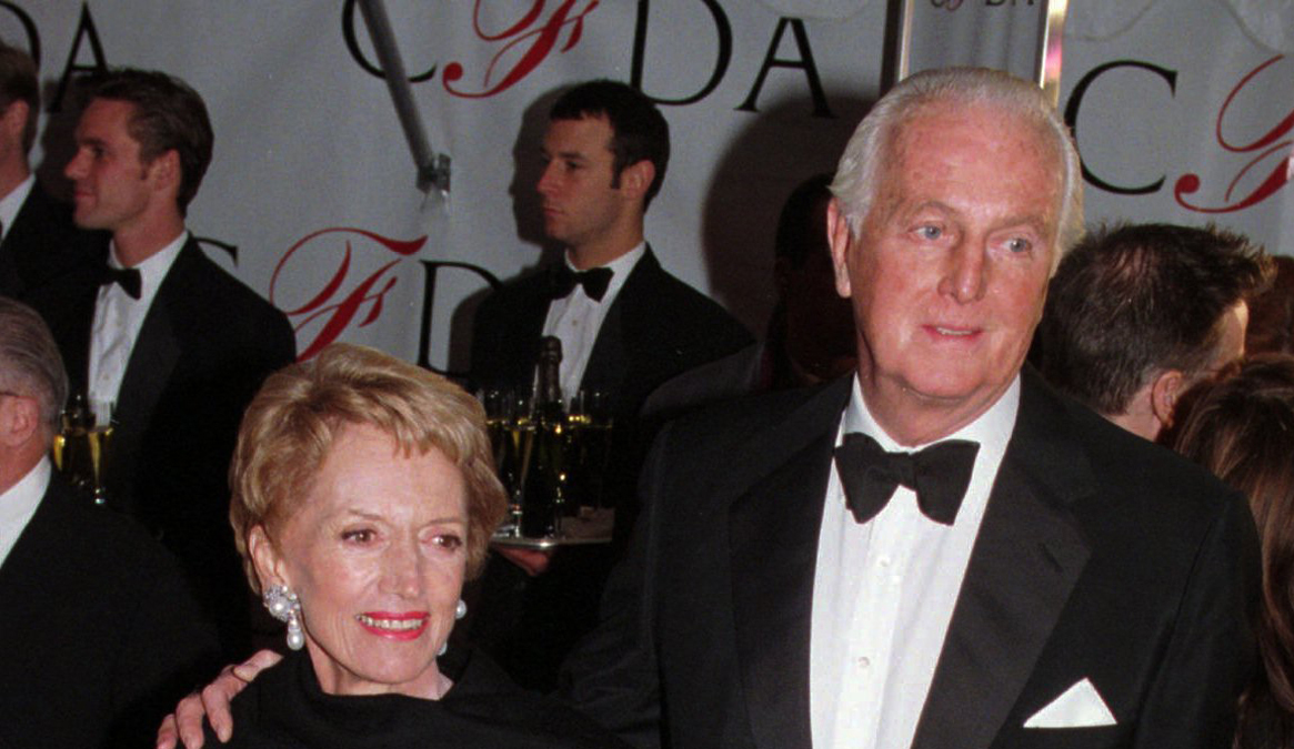 Hubert de Givenchy with his wife Mary in 1996
