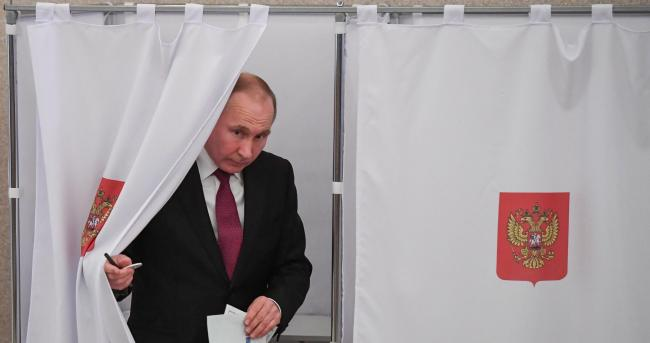 Vladimir Putin yesterday won a landslide victory in the general election. Photograph: Getty