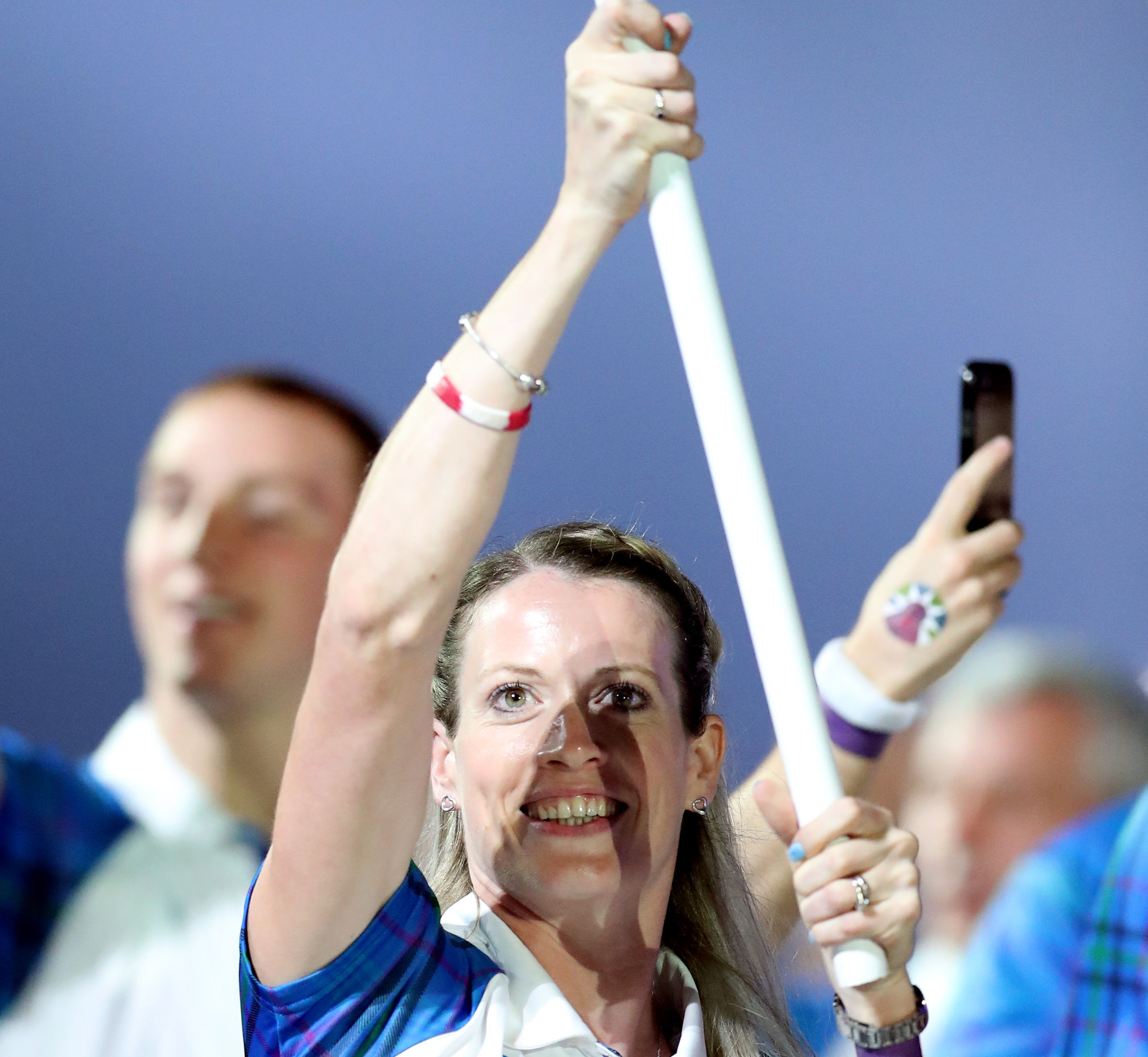 Scotland's flag bearer Eilidh Doyle leads out her team during the Opening Ceremony for the 2018 Commonwealth Games at the Carrara Stadium in the Gold Coast, Australia. PRESS ASSOCIATION Photo. Picture date: Wednesday April 4, 2018. See PA story COMMON