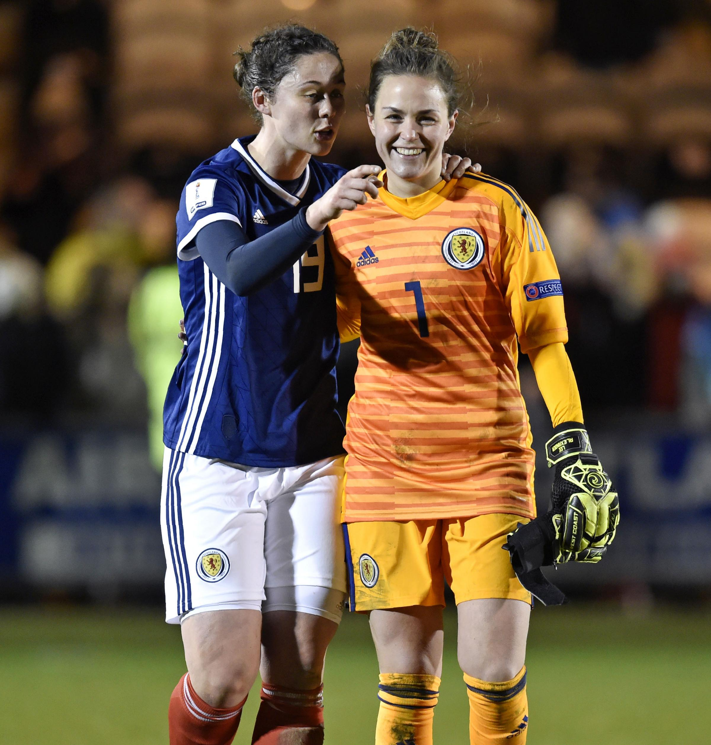 Zoe Ness (left) with Scotland keeper Lee Alexander following their victory over Poland. Picture: SNS