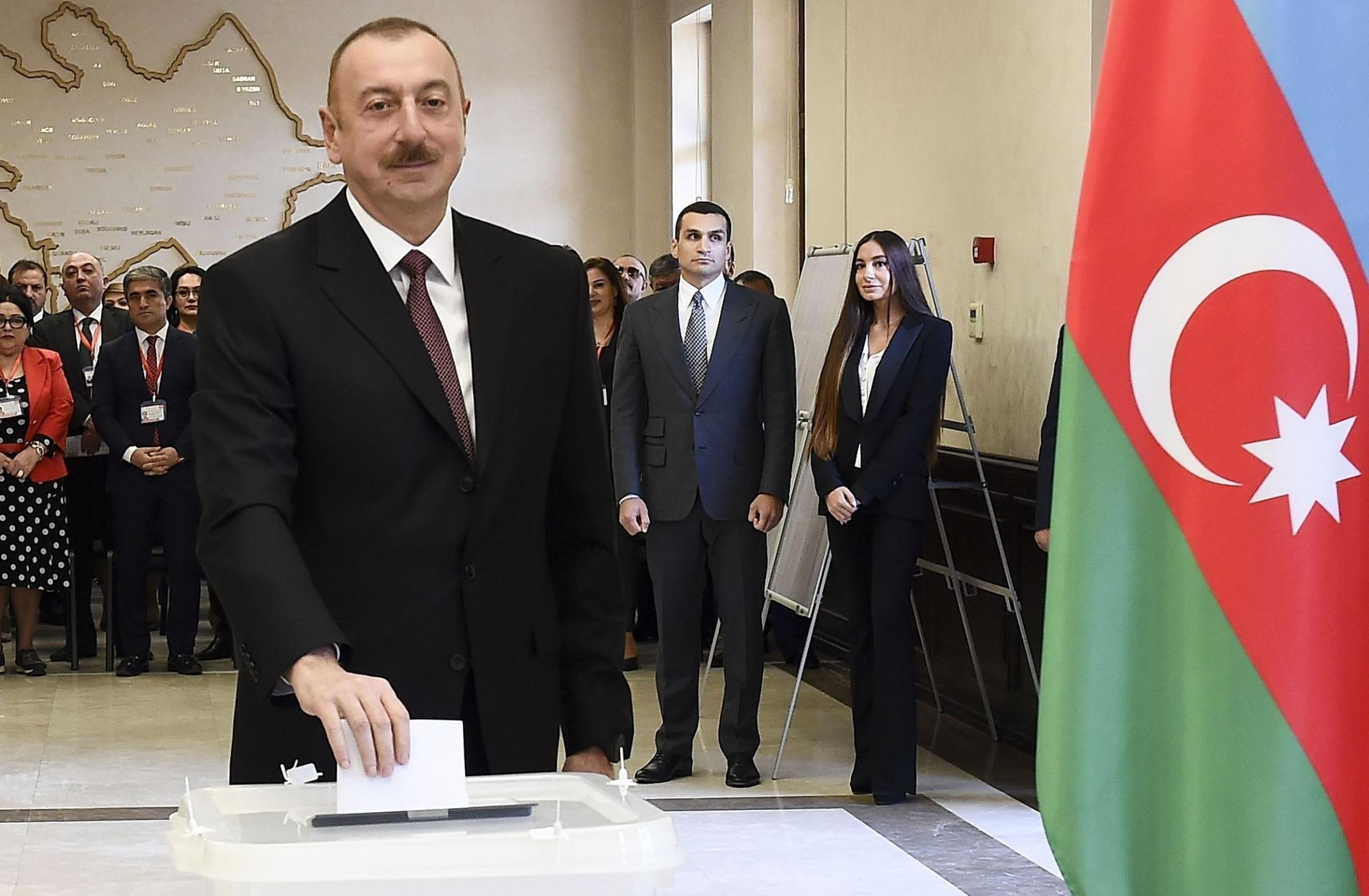 Ilham Aliyev, pictured casting his vote in Baku, succeeded his father Heydar in 2003. Photograph: AP