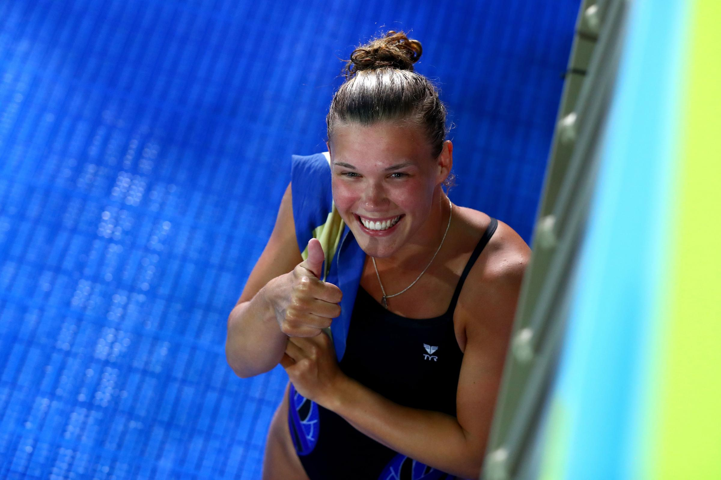 Grace Reid shows her delight after securing the gold medal. Picture: Getty Images
