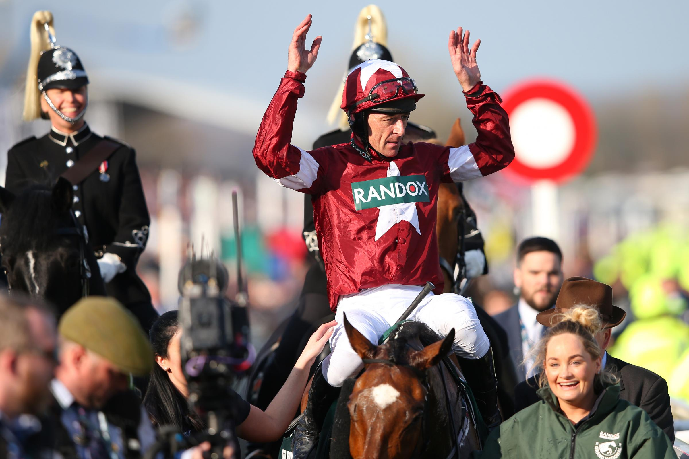 Davy Russell celebrates after riding Tiger Roll to victory. Photograph: Getty