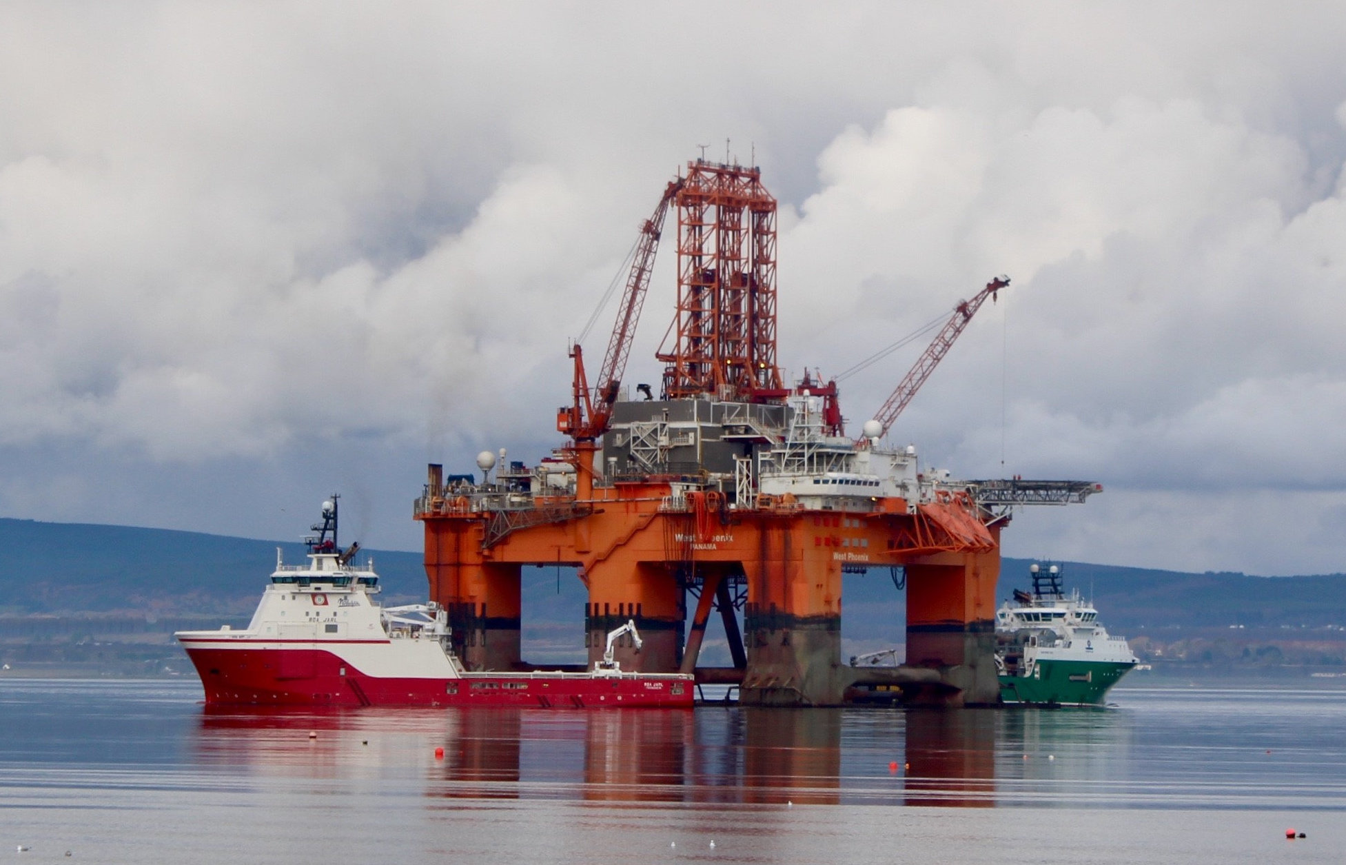 The West Phoenix, berthed in the Cromarty Firth, where she will have work done on her thrusters over the next two months