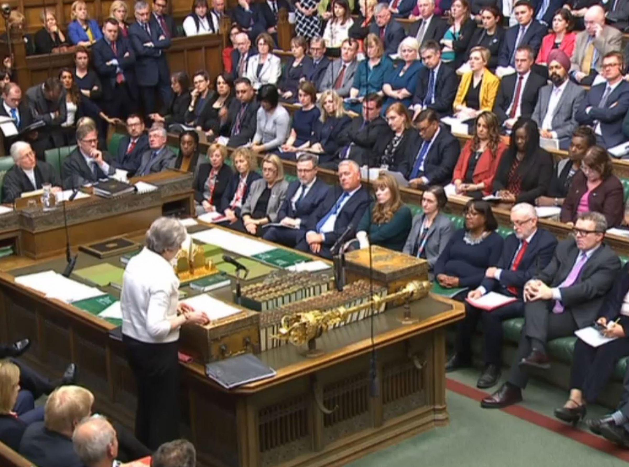 May made a statement to MPs in the House of Commons over her decision to launch air strikes against Syria