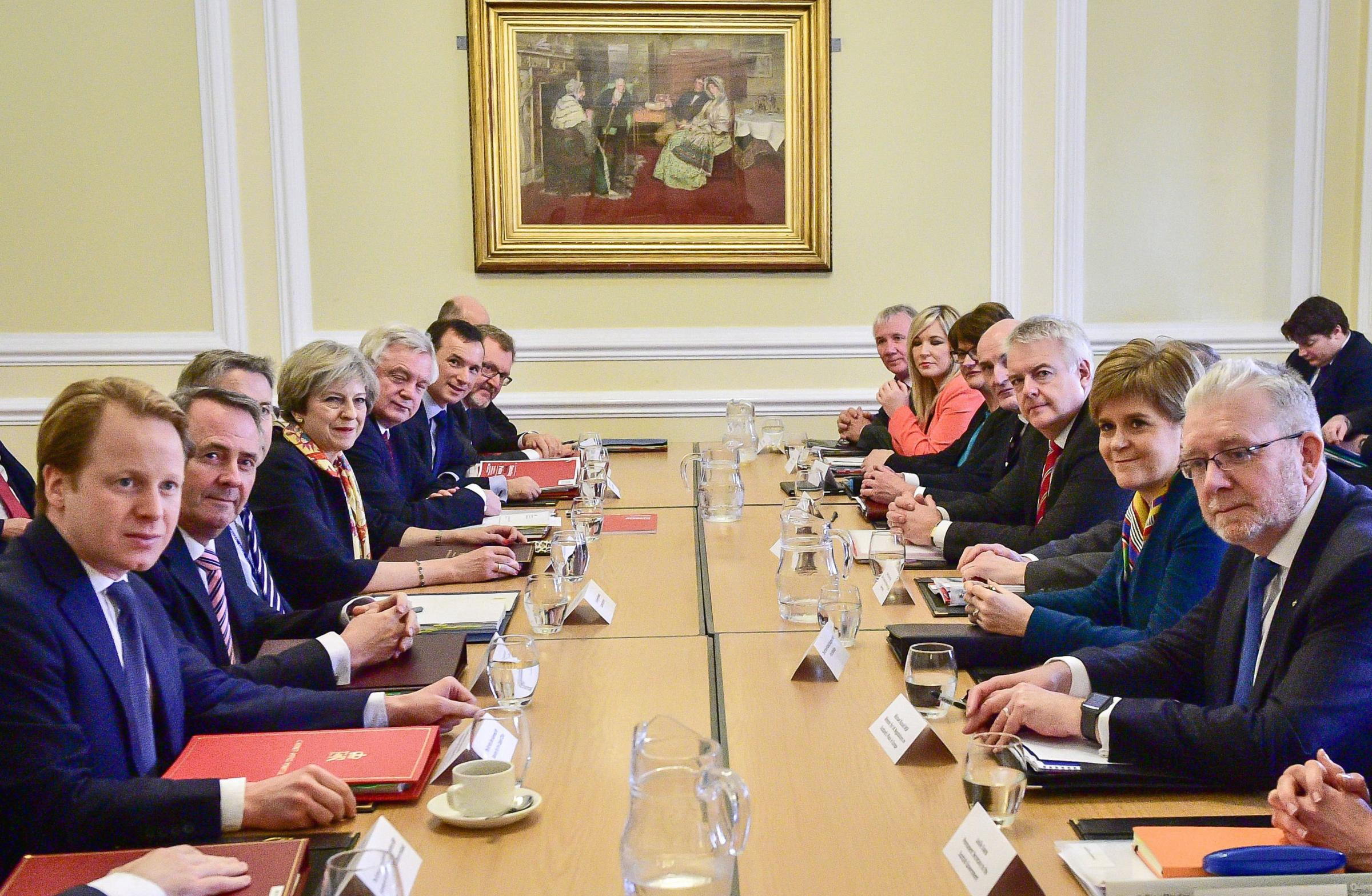 May's Cabinet face off Scottish Government ministers. The UK Government views devolution as more an irritation than aa central concern in planning Brexit