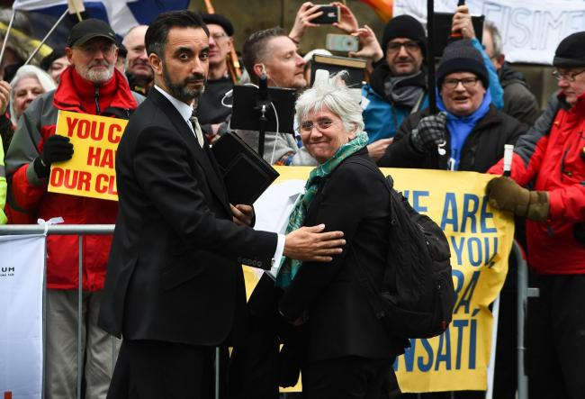 Former Catalan education minister Clara Ponsati and her solicitor Aamer Anwar
