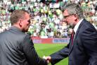 06/05/18 LADBROKES PREMIERSHIP. HEARTS v CELTIC . TYNECASTLE PARK - EDINBURGH. Celtic manager Brendan Rodgers (L) shakes hands with Hearts manager Craig Levein ahead of kick-off..